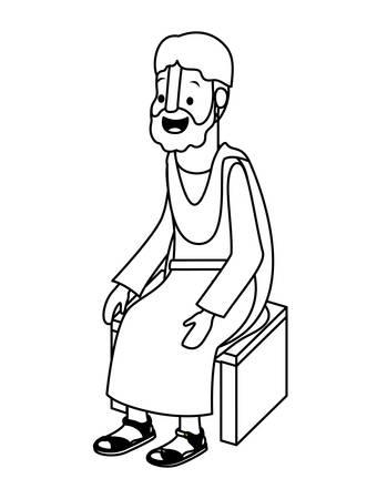 apostle of Jesus sitting on wooden chair vector illustration design Illustration