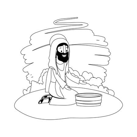 Jesus with water pot in the camp vector illustration design