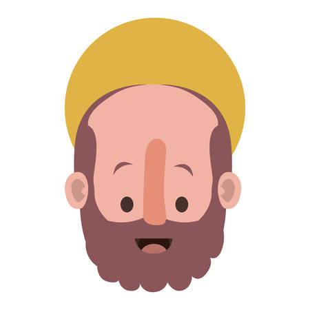 apostle of Jesus head with halo character vector illustration design