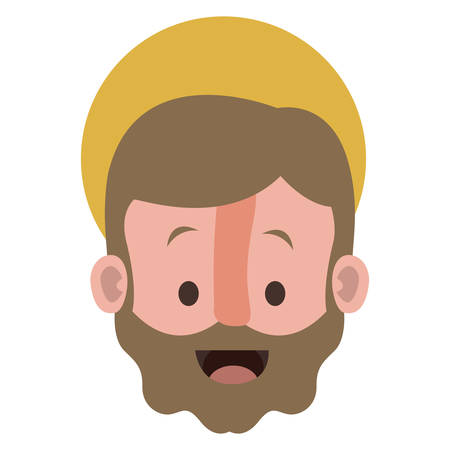 Apostle of Jesus head with halo character vector illustration design Illustration