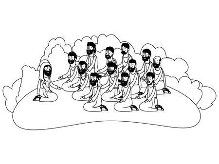 Jesus christ praying with apostles biblical scene vector illustration design