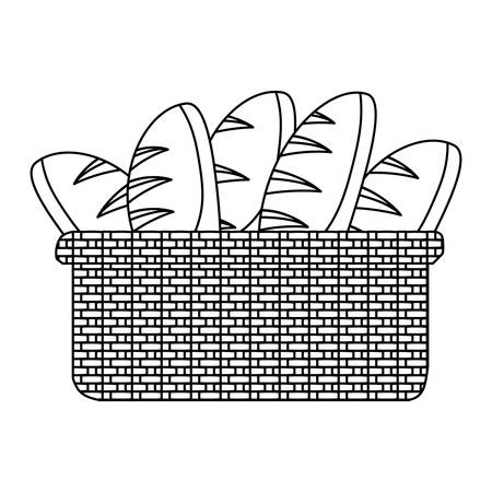 Basket with breads icon vector illustration design