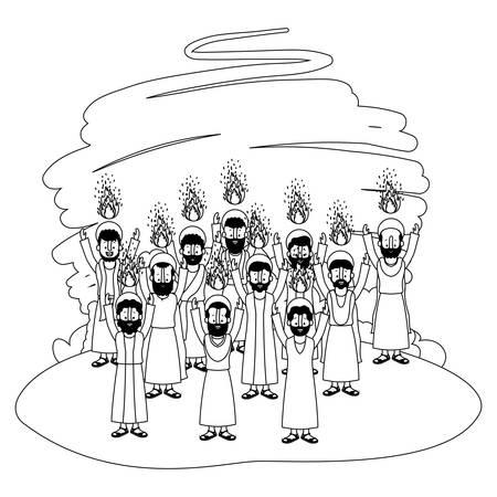 Pentecoste del gruppo degli apostoli nel disegno dell'illustrazione di vettore del campo