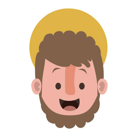 Apostle of Jesus head with halo character vector illustration design Ilustrace