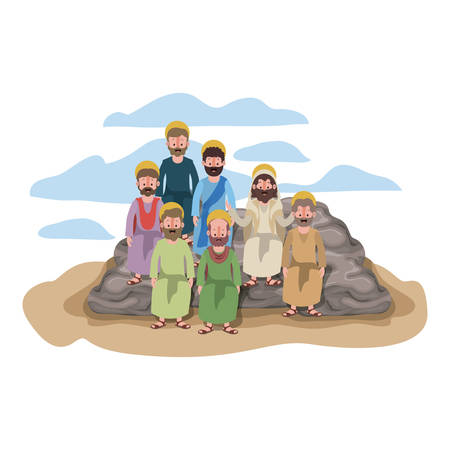 Apostles group of Jesus with halo in the rock character vector illustration design