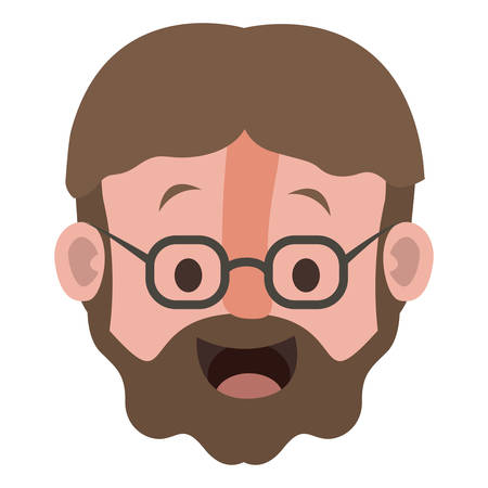 Old man with glasses and beard head vector illustration design Illustration