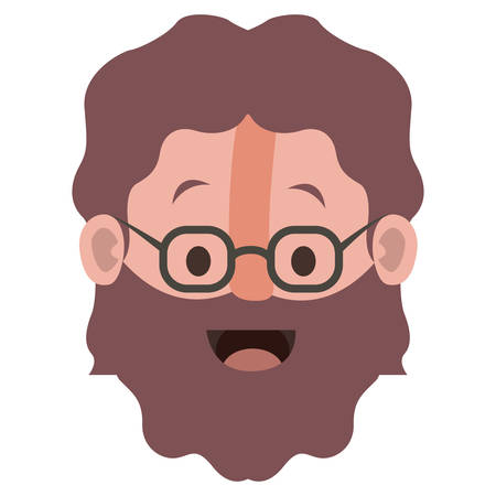 Old man with glasses and beard head vector illustration design Vettoriali