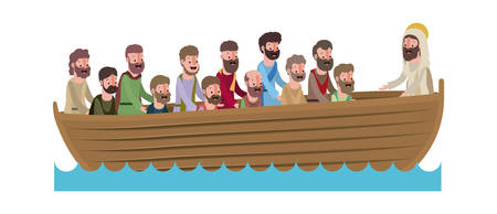 Jesus Christ with apostles in boat biblical scene vector illustration design Vettoriali