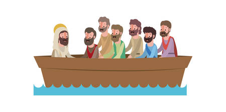 Jesus Christ with apostles in boat biblical scene vector illustration design Illustration