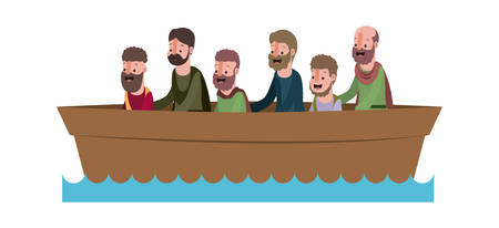 apostles group in boat biblical scene vector illustration design