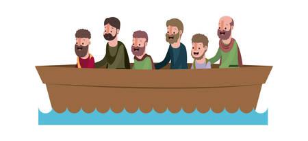 apostles group in boat biblical scene vector illustration design