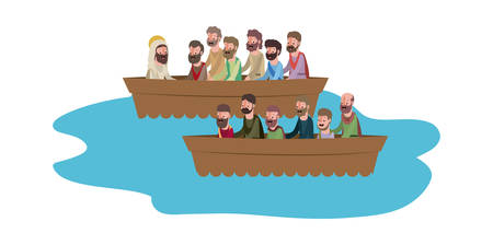 jesuschrist with apostles in boat biblical scene vector illustration design Illustration