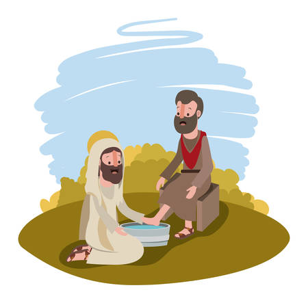 Jesus washing the feet of an apostle in the camp vector illustration design Illustration