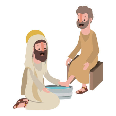 Jésus lavant les pieds d'une conception d'illustration vectorielle apôtre