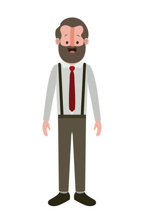 Elegant old man with beard vector illustration design.