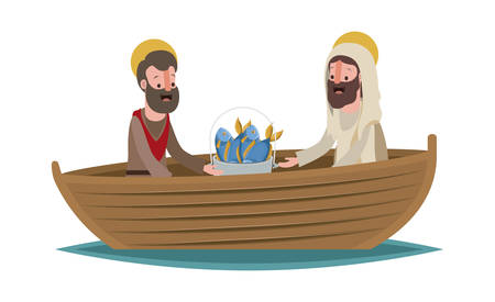 Jesucristo con apóstol en barco diseño de ilustración de vector de escena bíblica.