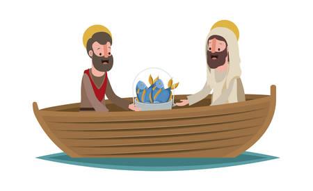 Jesus christ with apostle in boat biblical scene vector illustration design.