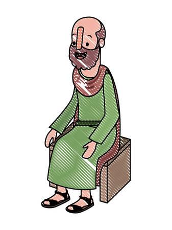 Male Evangelist sitting on wooden chair vector illustration design. Ilustrace