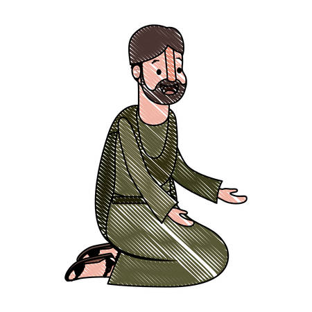 Male Evangelist on knees praying character vector illustration design.