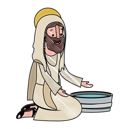 Jesus with water pot vector illustration design