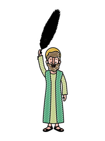 apostle of Jesus with palm leaf character vector illustration design