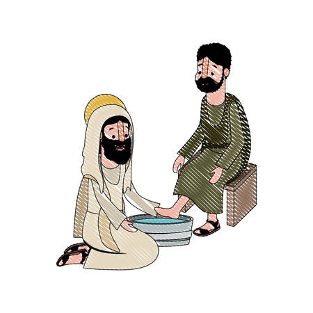 Jesus washing the feet of an apostle vector illustration design.