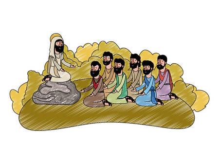 Jesus Christ praying with apostles biblical scene vector illustration design.