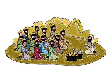 Jesus Christ with apostles multiplication of bread and fish biblical scene Illustration.