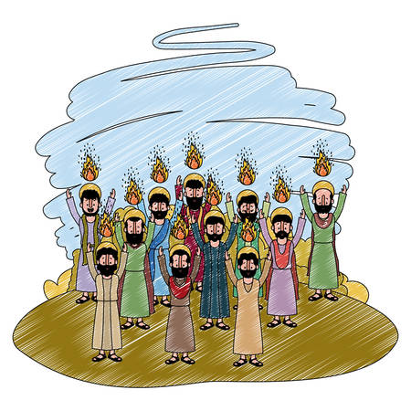 Grupo de apóstoles pentecostés en el diseño de ilustración de vector de campo.