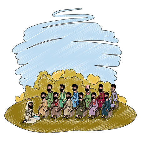 Jesus washing the feet of an apostles in the camp vector illustration design.