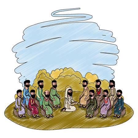 Jesus Christ praying with apostles biblical scene illustration design.