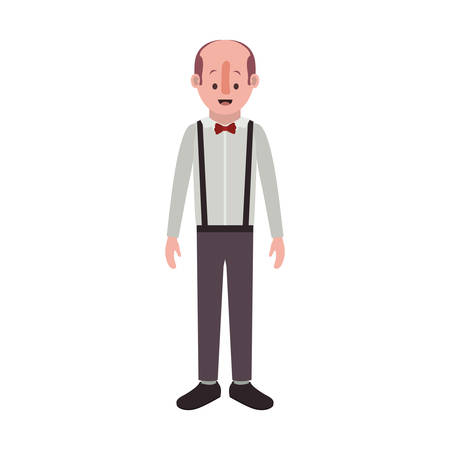 man with old suit with bowtie vector illustration design