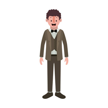 man with old suit vector illustration design Çizim