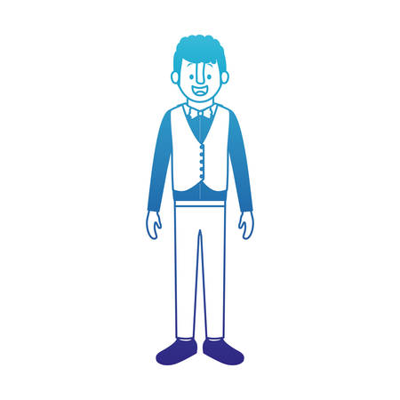 Man with old suit with vest vector illustration design