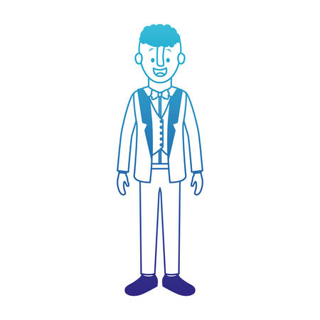 Man with old suit with sweater vector illustration design Illustration