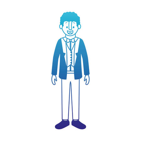 man with old suit with sweater vector illustration design