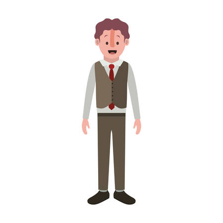 man with old suit with vest vector illustration design Illustration