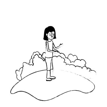 isometric little girl in field landscape character vector illustration design