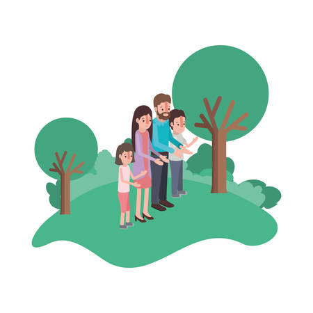 parents couple with son and daughter in field landscape vector illustration