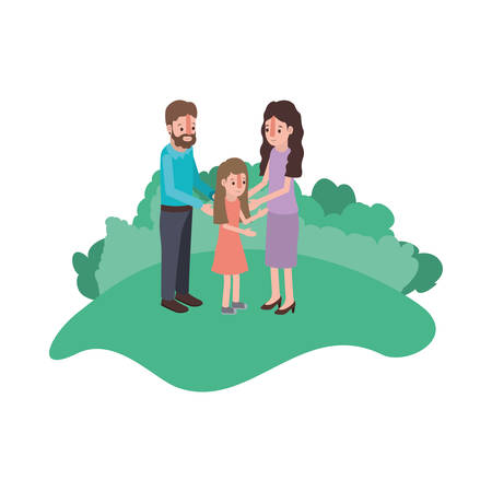 parents couple with daughter in field landscape vector illustration design
