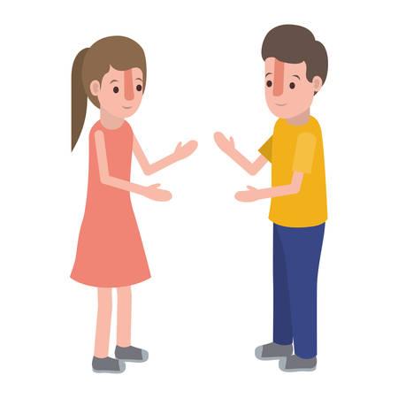 Little girl and boy avatar character design