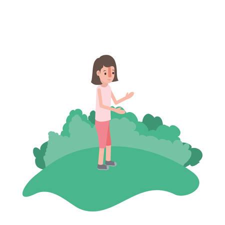 isometric woman in field landscape avatar character vector illustration design Illustration