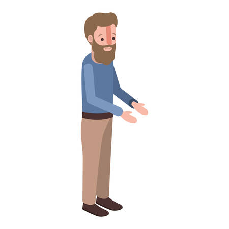 isometric man with beard avatar character vector illustration design