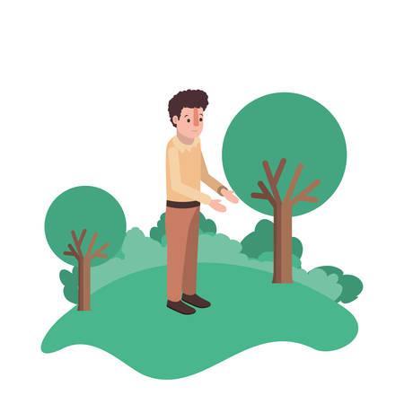 isometric man in field landscape avatar character vector illustration design