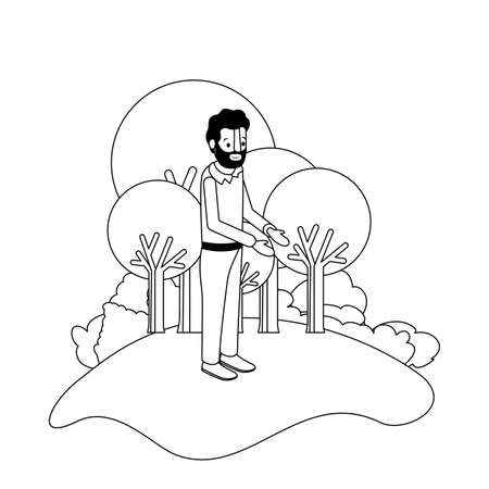 isometric man with beard in field landscape avatar character vector illustration