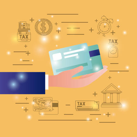 Credit cards with finance set icons vector illustration design