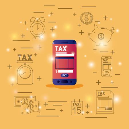 Tax time set icons vector illustration design Vettoriali