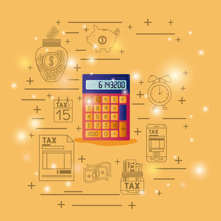 Calculator device with financial set icons vector illustration design Ilustrace