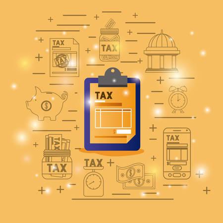 Tax time set icons vector illustration design Illustration
