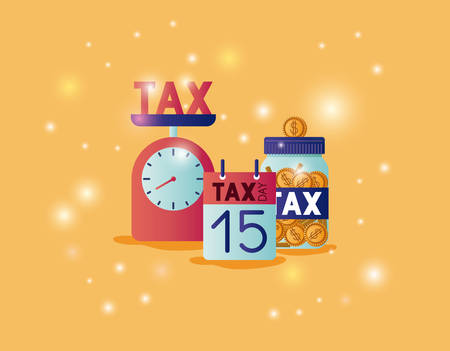 tax time set icons vector illustration design